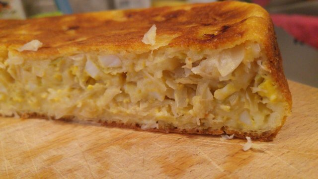 Быстрый пирог с капустой из жидкого теста