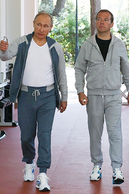 Владимир Путин в спортивном костюме Loro Piana и Дмитрий Медведев