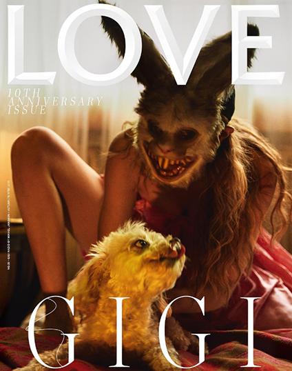 Джиджи Хадид в страшной маске зловещего зайца снялась для обложки Love Magazine