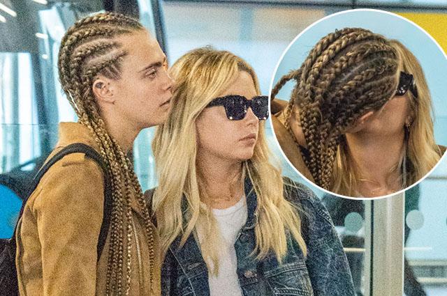 Папарацци застали Кару Делевинь и Эшли Бенсон за поцелуями в аэропорту Лондона