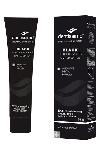 Черная зубная паста с бамбуковым уголем, Dentissimo