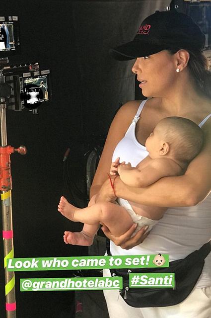 Ева Лонгория вернулась к работе — вместе с двухмесячным сыном