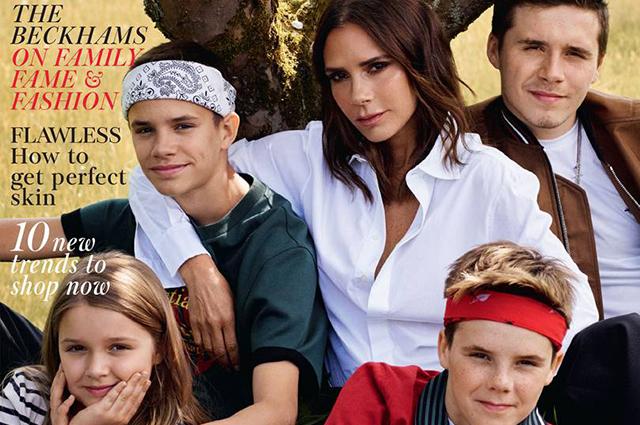 Семейный отряд: Виктория Бекхэм с детьми появилась на обложке британского Vogue