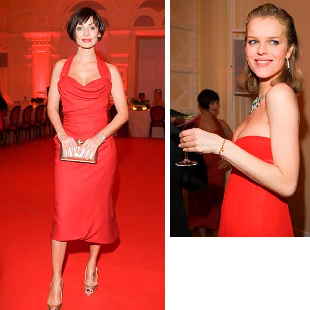 """Натали Имбрулья, Ева Герцигова. """"Красный ужин"""" Valentino, 2008 год"""