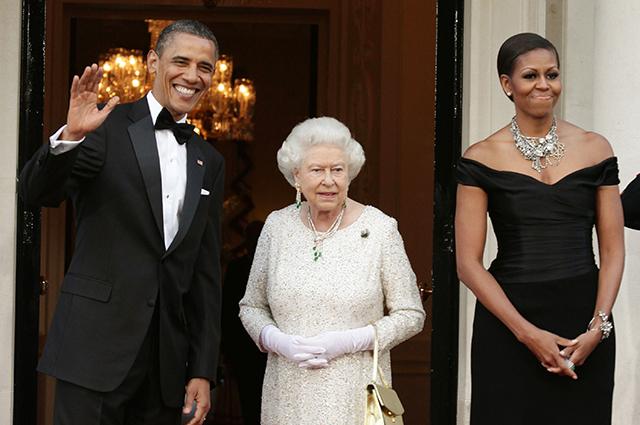 Барак Обама, королева Елизавета II и Мишель Обама