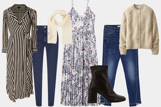 Платье Topshop, джинсы Calvin Klein, шарф Moncler, платье H&M, джинсы Zara, кардиган Uniqlo, ботильоны Acne Studios