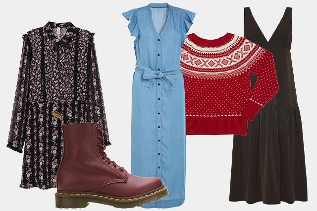 Платье H&M, ботинки Dr. Martens, платье Next, свитер Benetton, платье Laroom