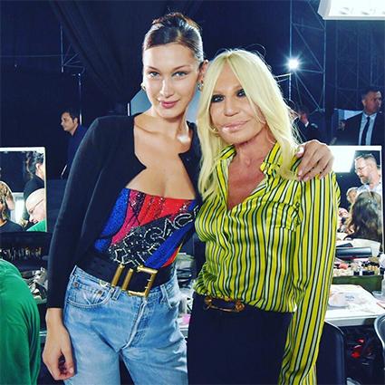 Донателла Версаче с Беллой Хадид на показе Versace