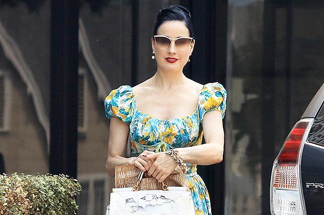 Уличный стиль знаменитости: Дита фон Тиз в ретро-платье сходила на деловую встречу в Лос-Анджелесе