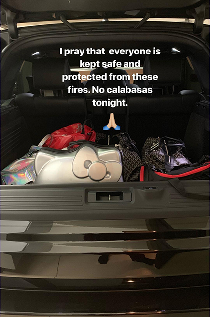 Ким Кардашьян вместе с семьей эвакуирована из своего особняка в Калифорнии из-за лесных пожаров