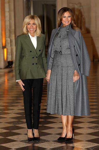 Брижит Макрон, Мелания Трамп и княгиня Шарлен на приеме в Версале