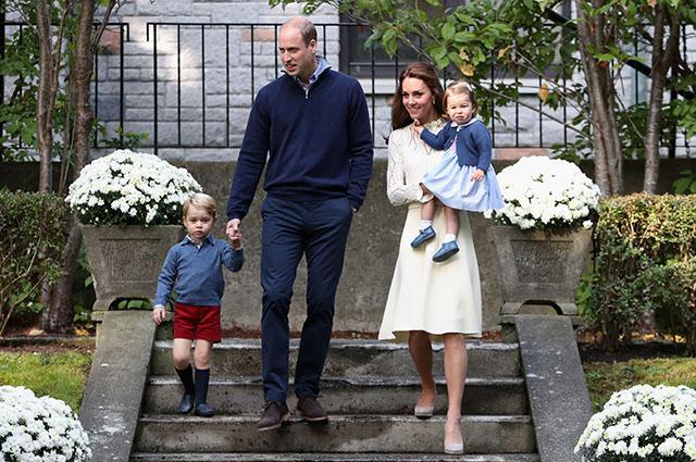 Принцы Джордж и Уильям, Кейт Миддлтон и принцесса Шарлотта