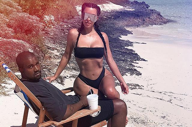 Ким Кардашьян разбудила Канье Уэста, чтобы сделать сексуальное фото на пляже