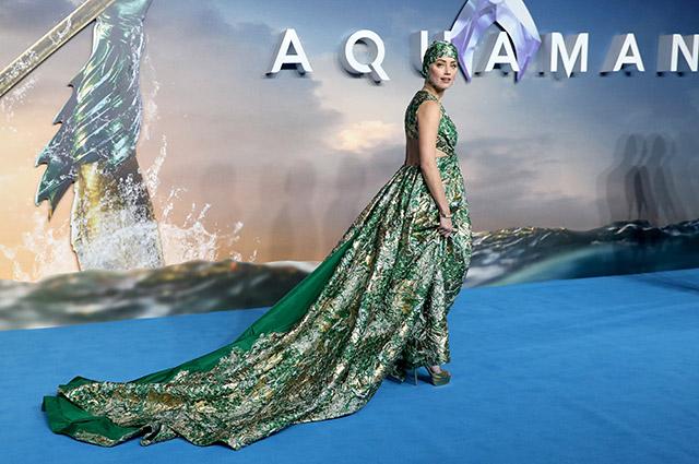 Эмбер Херд нарядилась королевой подводного мира на премьере «Аквамена» в Лондоне