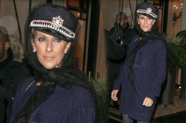 Острые козырьки: Селин Дион в фуражке и вязаном мини-платье в Париже
