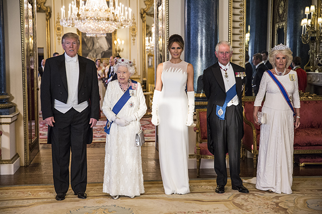 Дональд Трамп, королева Елизавета II, Мелания Трамп, принц Чарльз, герцогиня Корнуольская Камилла
