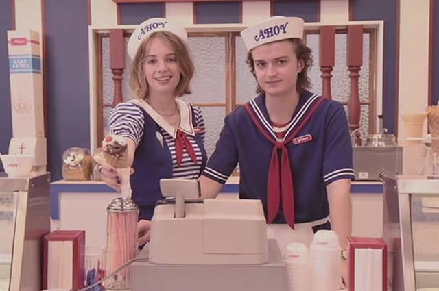 """Майя Хоук и Джо Кири. Кадр из сериала """"Очень странные дела"""""""