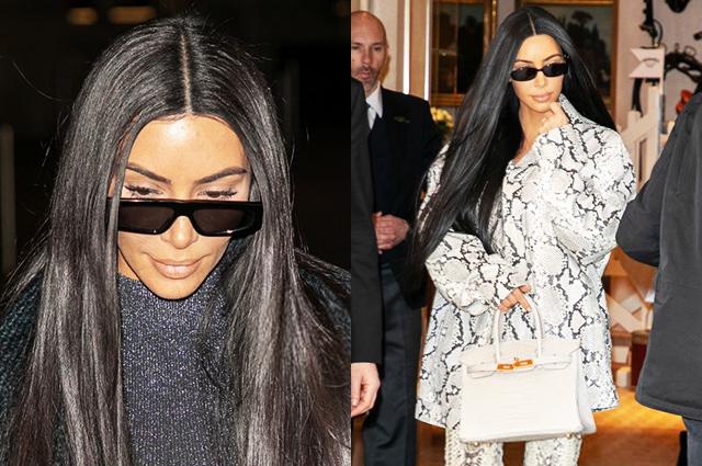 Змеиный принт и люрекс: два новых образа Ким Кардашьян в Париже