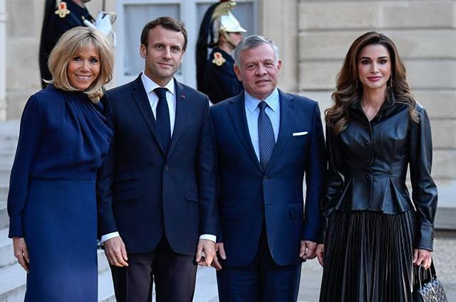 Эммануэль и Брижит Макрон встретились с королевой Ранией и королем Абдаллой II