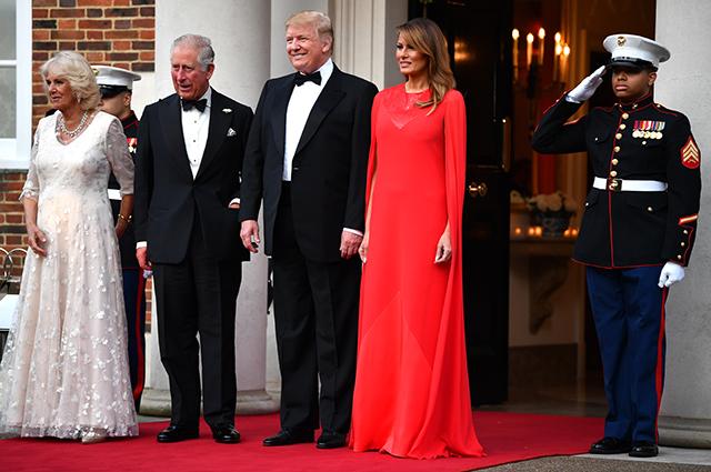 Герцогиня Корнуольская Камилла, принц Чарльз, Дональд и Мелания Трамп