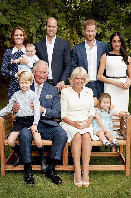 Кейт Миддлтон и принц Луи, принцы Уильям и Гарри, Меган Маркл, принцы Чарльз и Джордж, герцогиня Корнуольская Камилла и принцесса Шарлотта