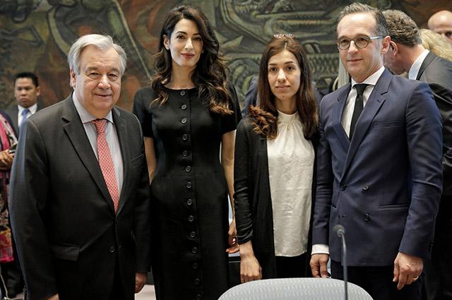 Генеральный секретарь ООН Антонио Гутерреш, Амаль Клуни, Надия Мурад и министр иностранных дел Германии Хайко Маас