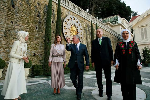 Королева Рания, король Абдалла II, Реджеп Тайип Эрдоган и Эмине Эрдоган