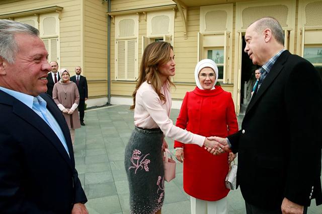 Король Абдалла II, королева Рания, Эмине и Реджеп Тайип Эрдоган