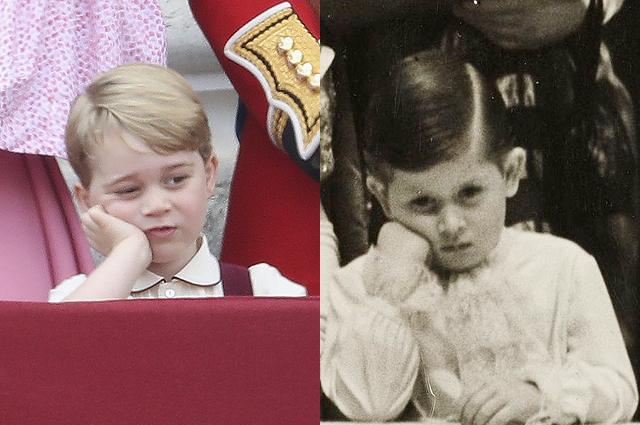 В сети обсуждают сходство принца Джорджа с принцем Чарльзом на детской фотографии