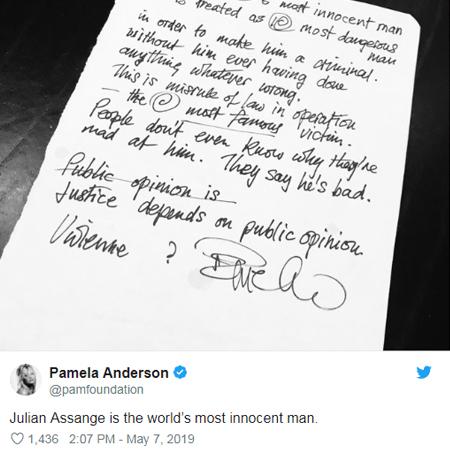 Памела Андерсон назвала Джулиана Ассанжа «самым невинным человеком в мире»
