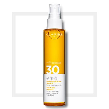 Солнцезащитное масло-спрей для тела и волос SPF 30 Huile-en-Brume Solaire, Clarins
