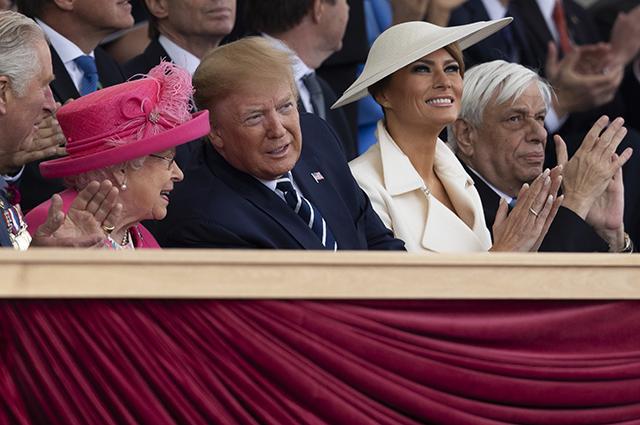 Королева Елизавета II, Дональд и Мелания Трамп