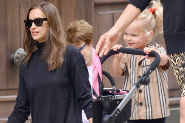 Ирина Шейк с дочерью Леей на прогулке в Нью-Йорке