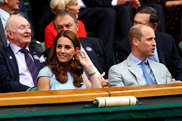 Кейт Миддлтон и принц Уильям на мужском финале Уимблдона