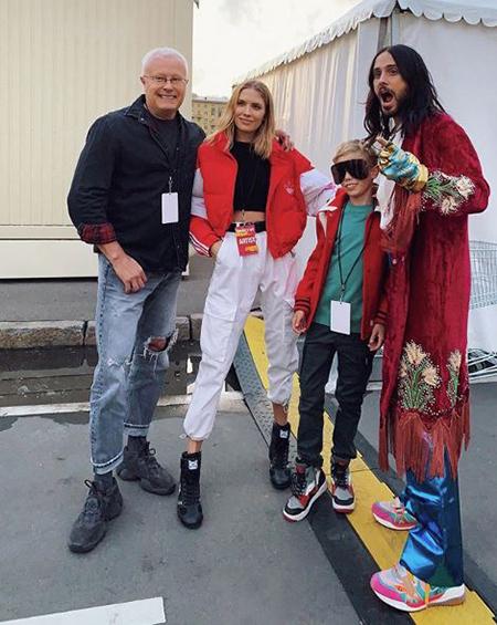 Александр Лебедев и Елена Перминова с сыном, Джаред Лето
