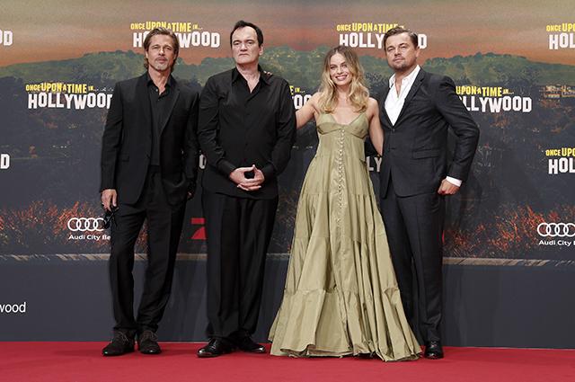 Брэд Питт, Марго Робби и Леонардо ДиКаприо на премьере