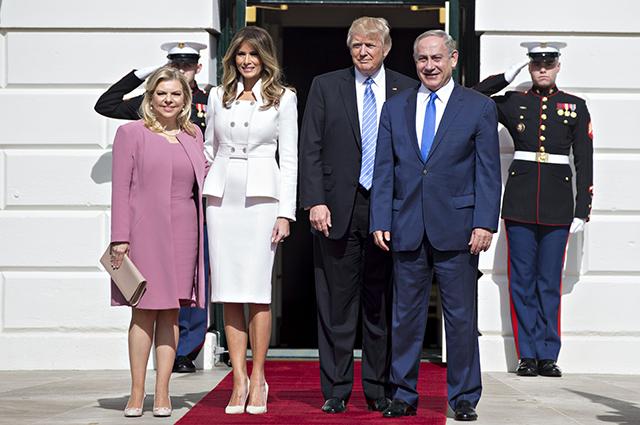 Сара Нетаньяху, Мелания и Дональд Трамп и Биньямин Нетаньяху