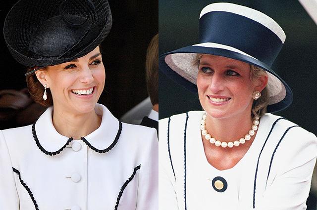 В сети сравнивают наряд Кейт Миддлтон на церемонии Ордена Подвязки с похожим образом принцессы Дианы