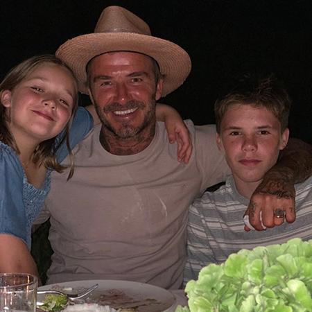 Дэвид Бекхэм с детьми в Италии