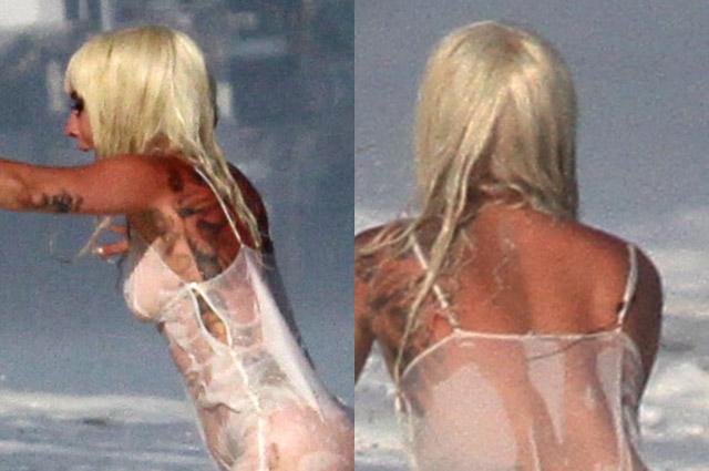 Леди Гага устроила откровенную фотосессию в прозрачном платье в Малибу